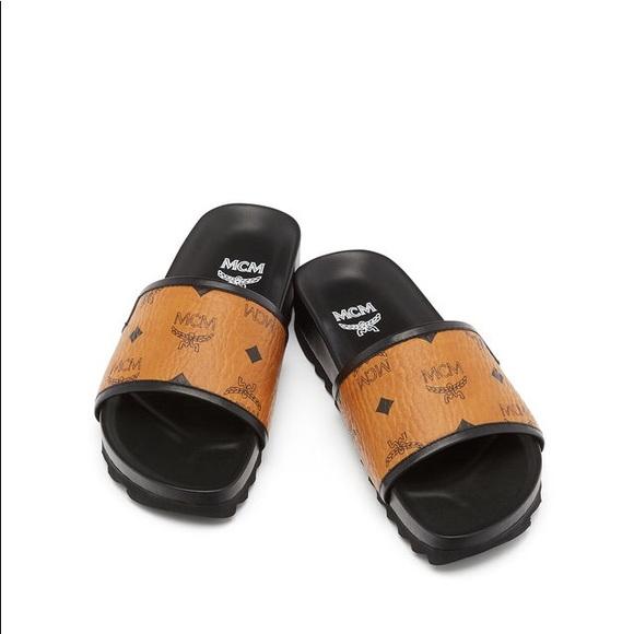 c02825fbc90c6 MCM Visetos leather slides sandals shoes. M 5ac091f88290afca65ec16a4
